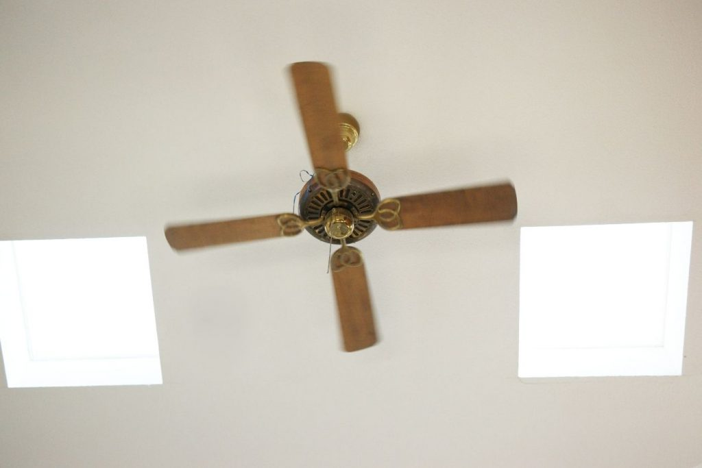 A bathroom ceiling fan