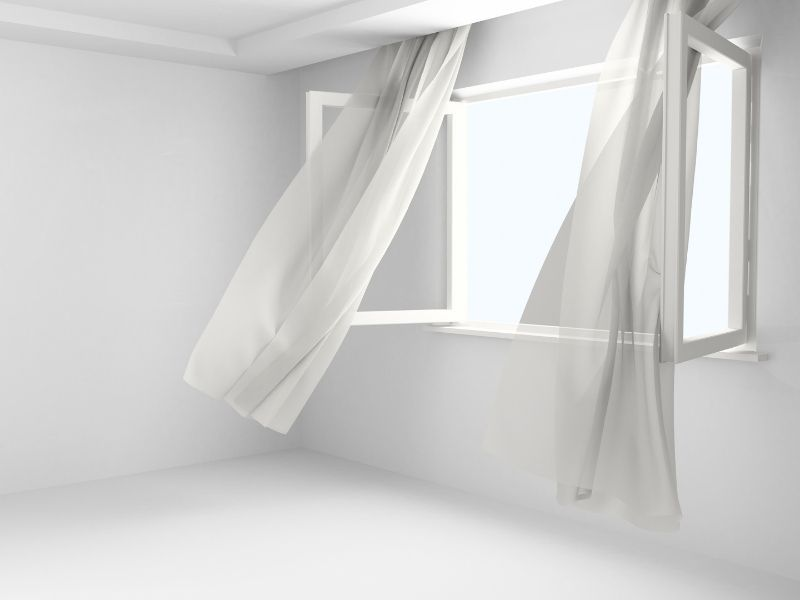 A window opened to reduce radon levels