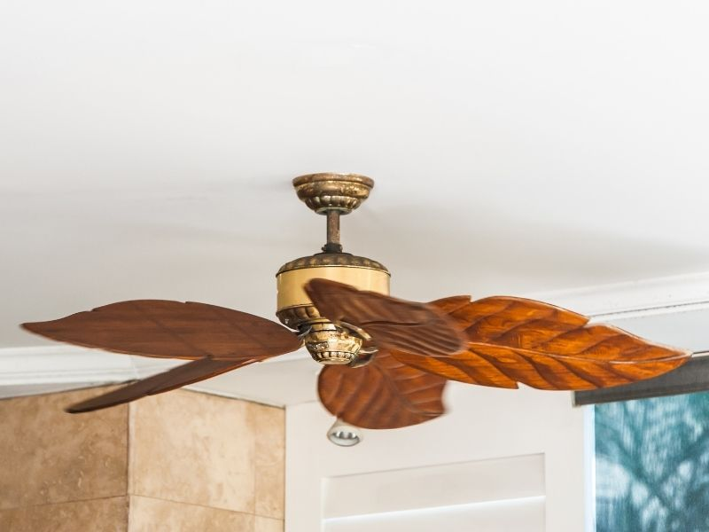 A ceiling fan indoors