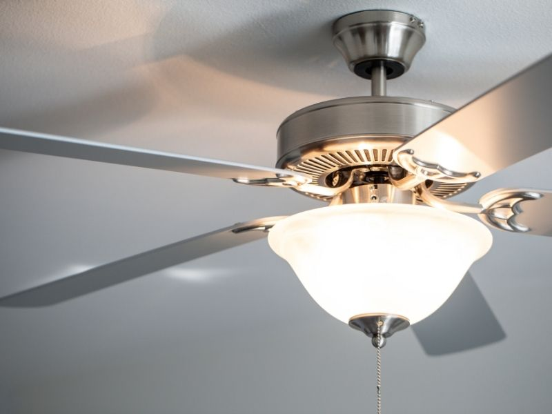 A ceiling fan with light